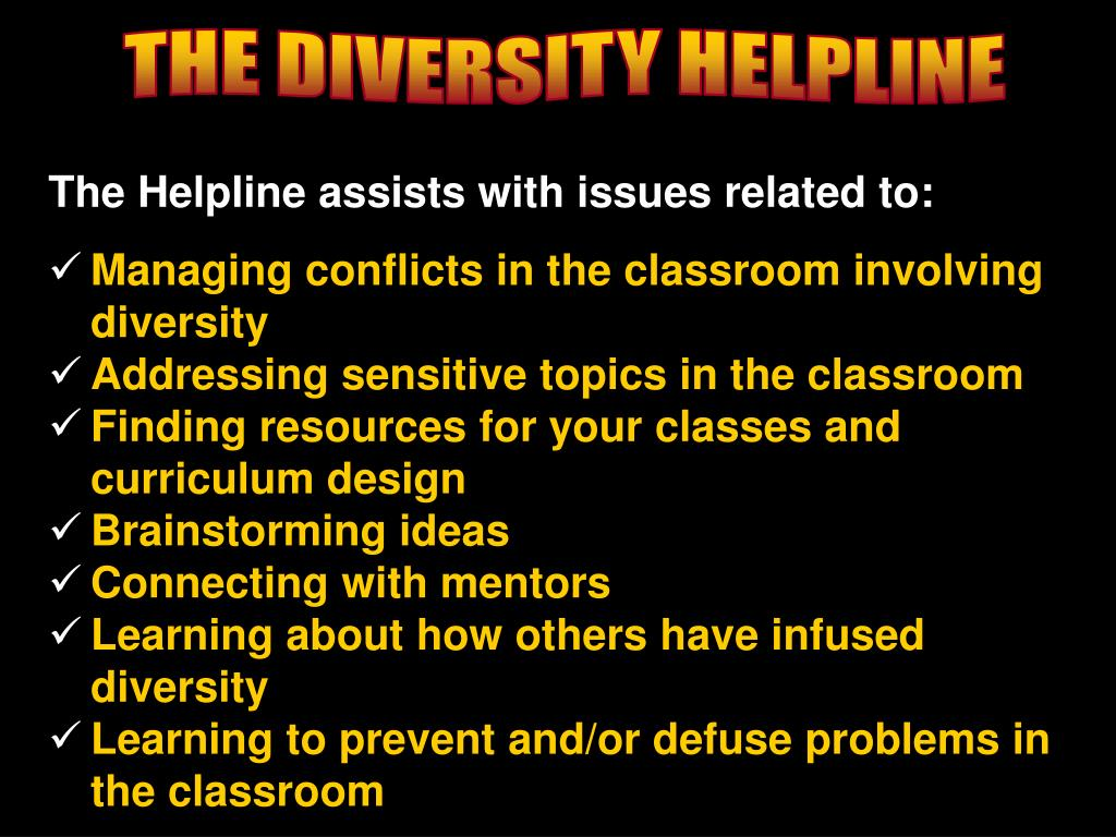 THE DIVERSITY HELPLINE