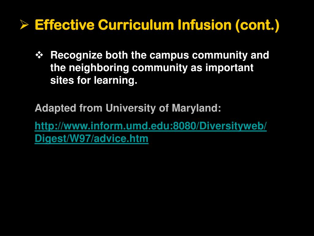 Effective Curriculum Infusion (cont.)