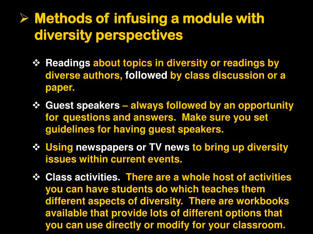 Methods of infusing a module with diversity perspectives
