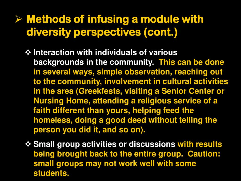 Methods of infusing a module with diversity perspectives (cont.)