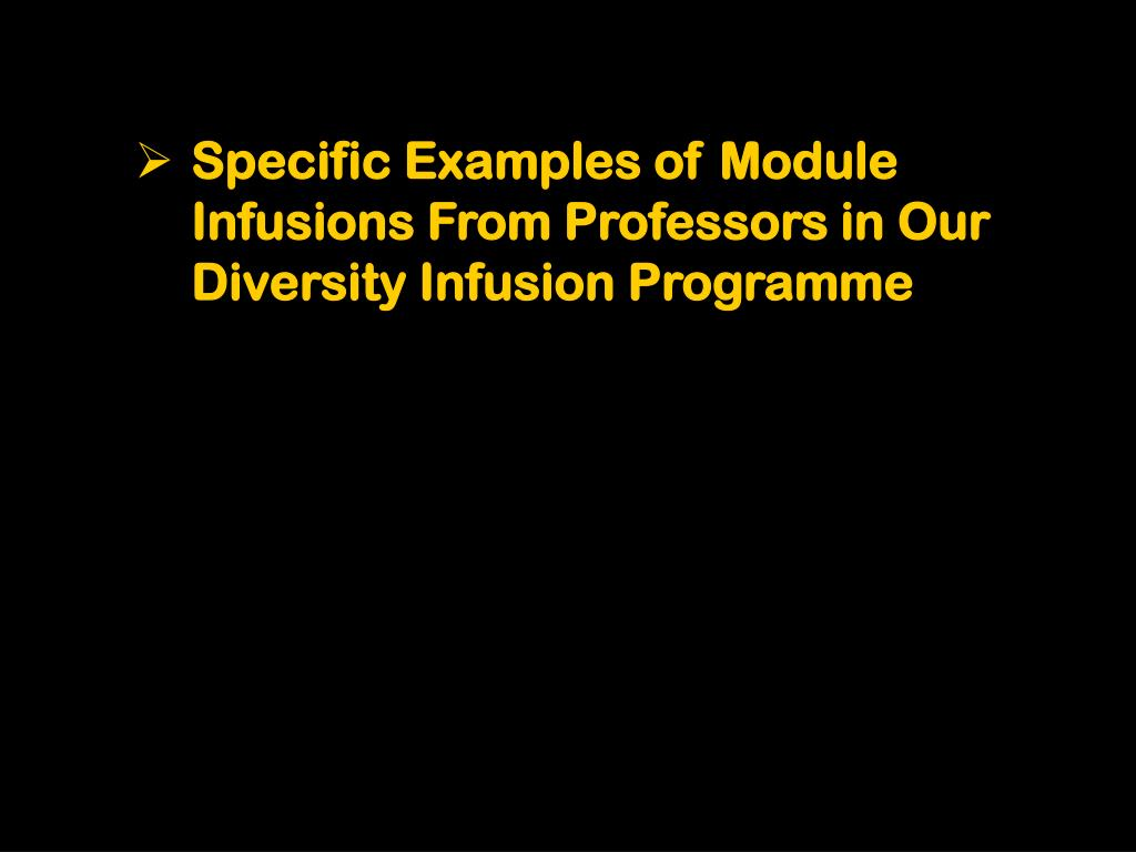 Specific Examples of Module Infusions From Professors in Our Diversity Infusion Programme