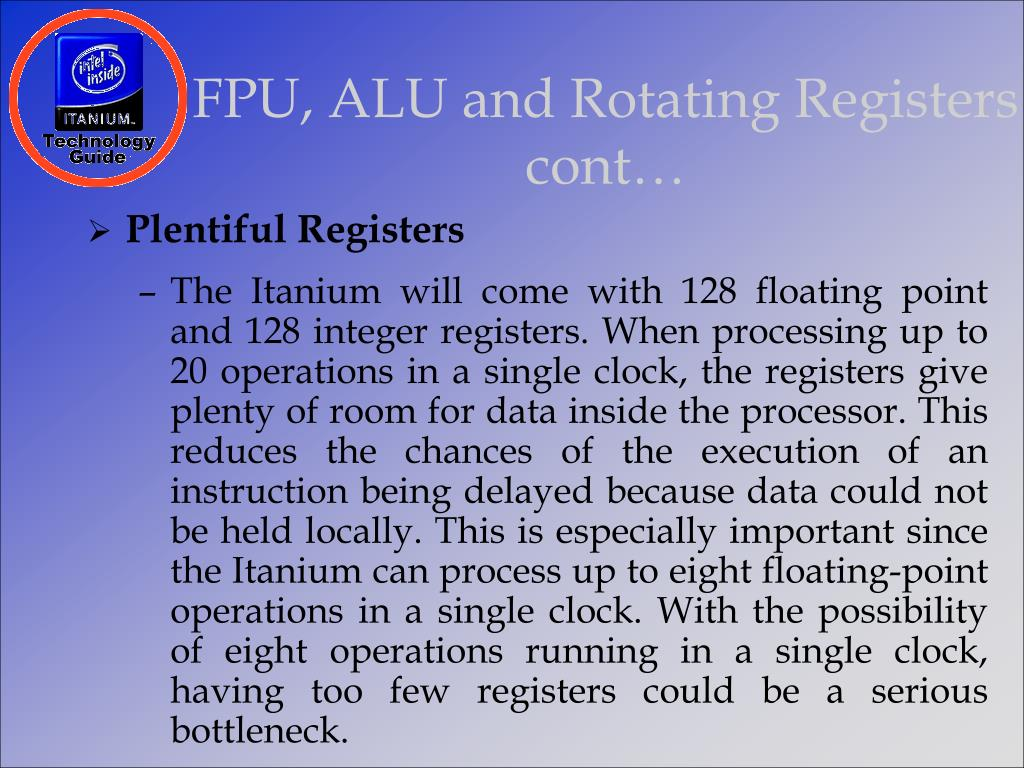 FPU, ALU and Rotating Registers cont…