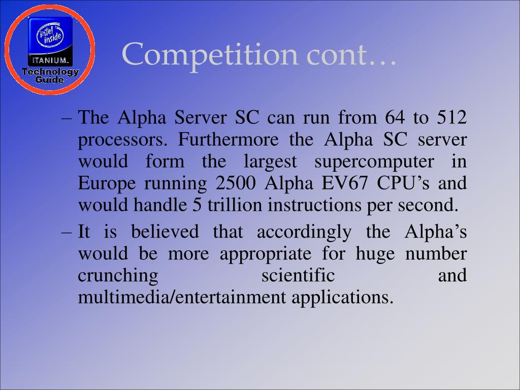 Competition cont…