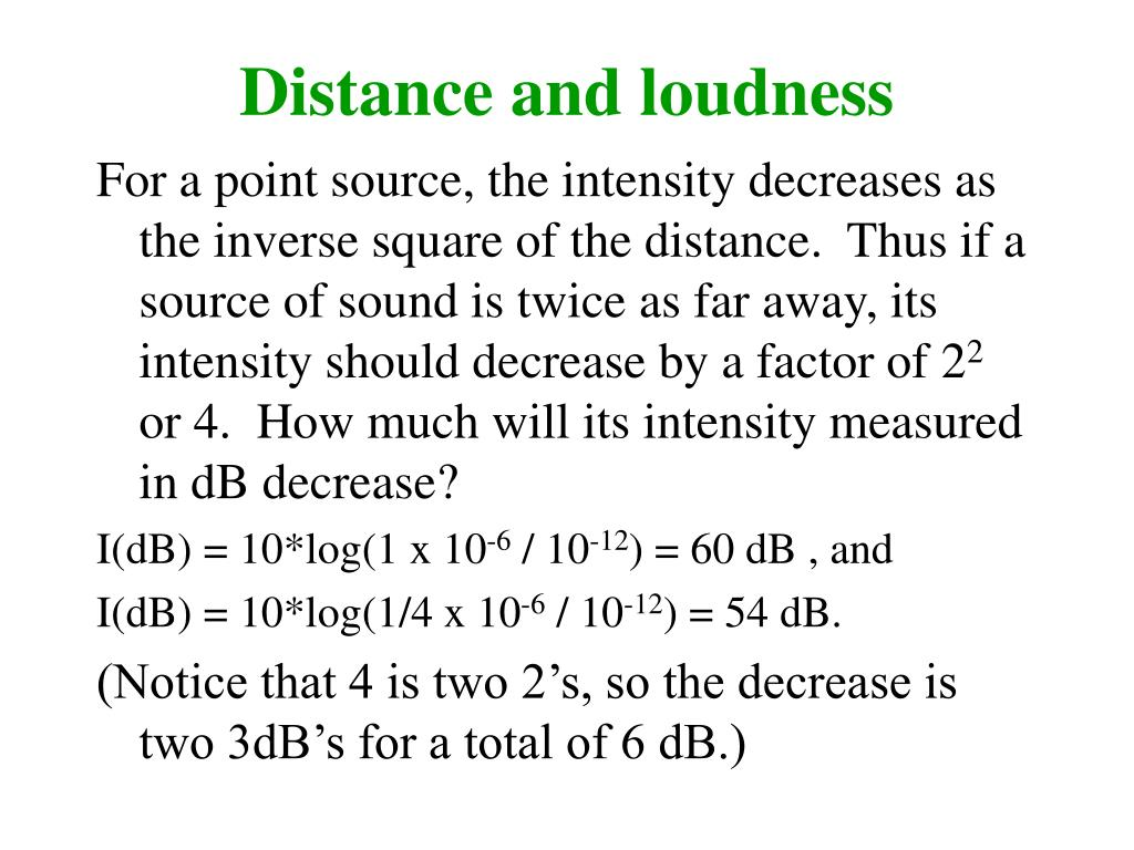 Distance and loudness