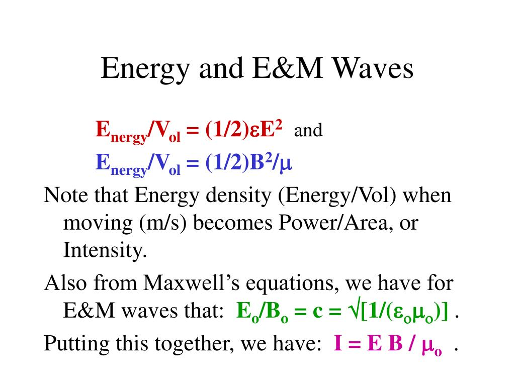 Energy and E&M Waves