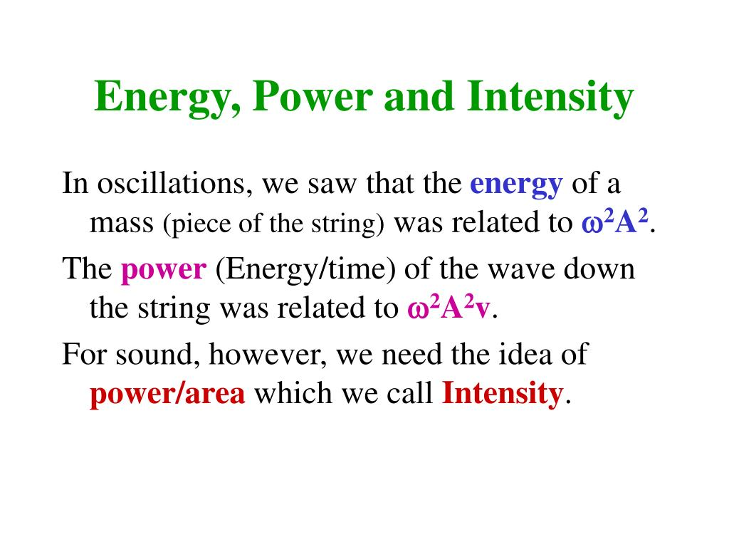 Energy, Power and Intensity