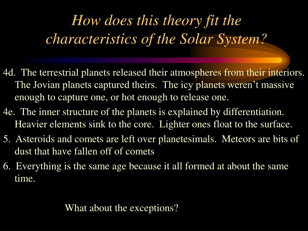 How does this theory fit the characteristics of the Solar System?