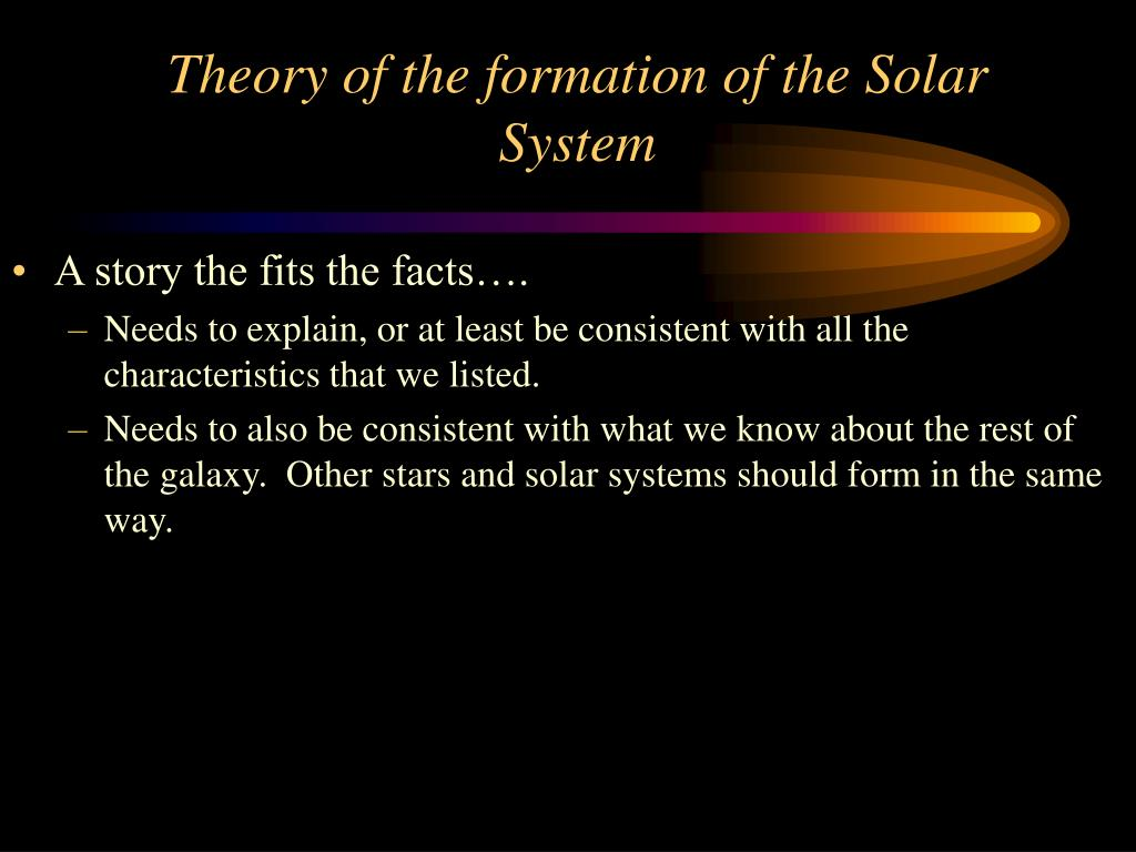 Theory of the formation of the Solar System