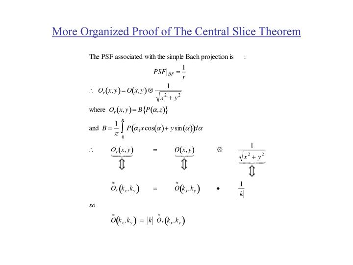 More organized proof of the central slice theorem l.jpg