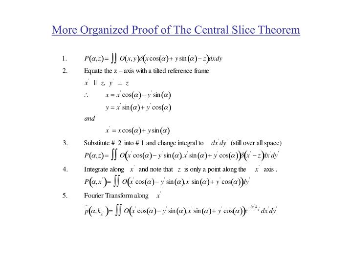 More organized proof of the central slice theorem3