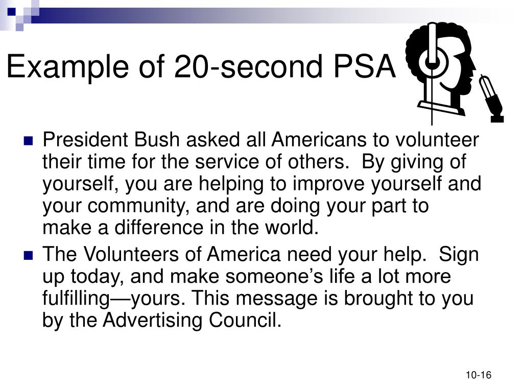 Example of 20-second PSA