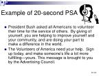 example of 20 second psa
