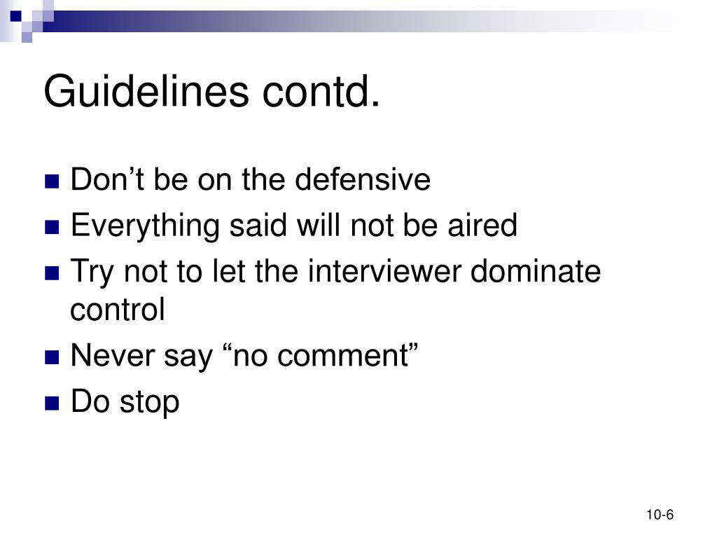Guidelines contd.