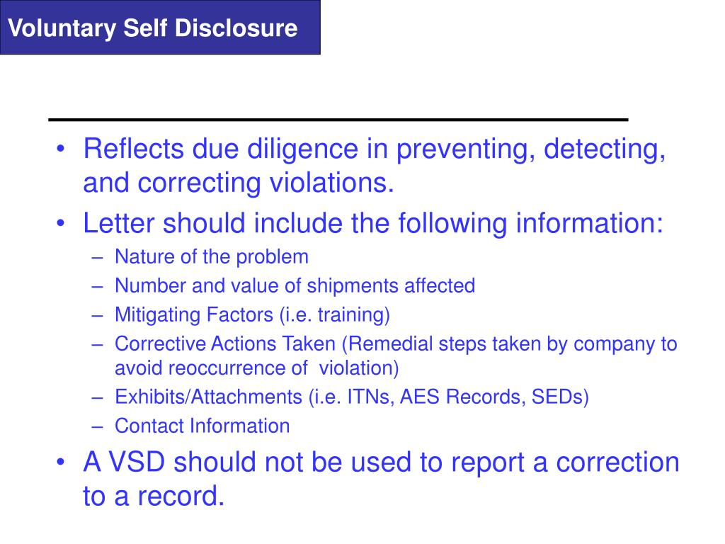 Voluntary Self Disclosure