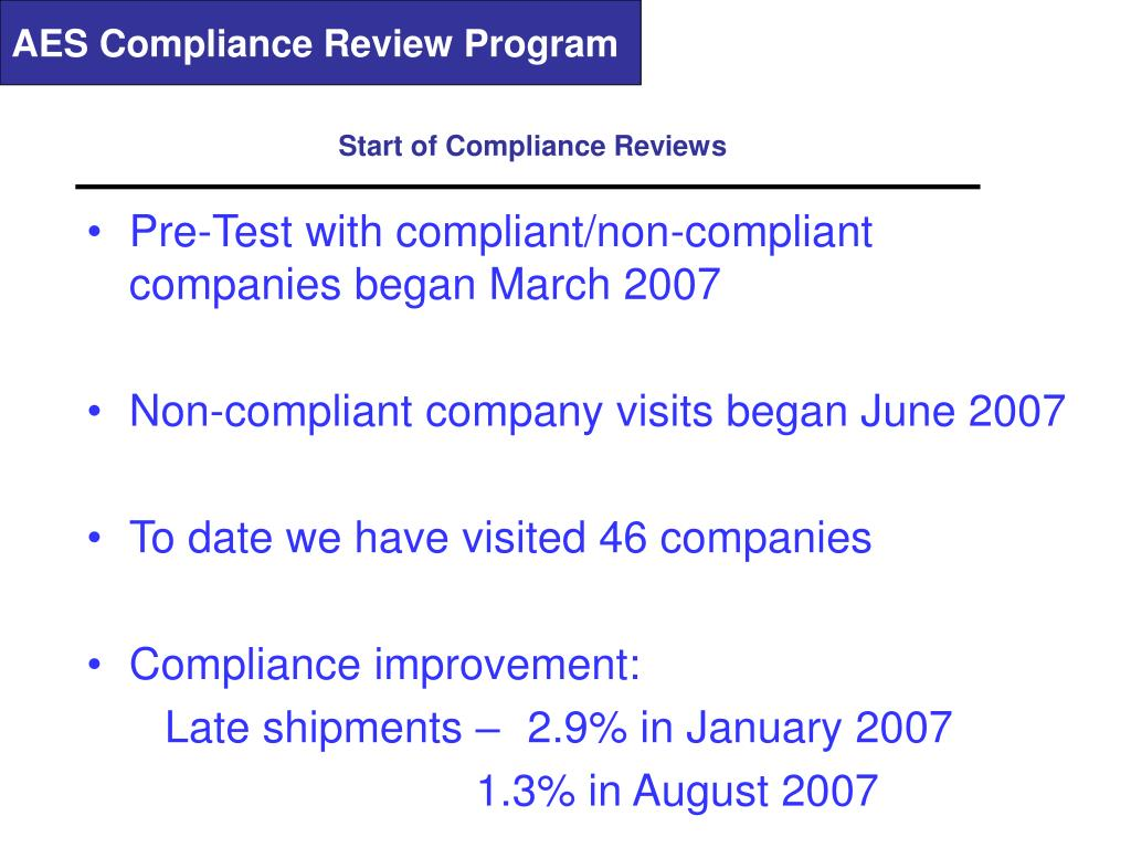 AES Compliance Review Program