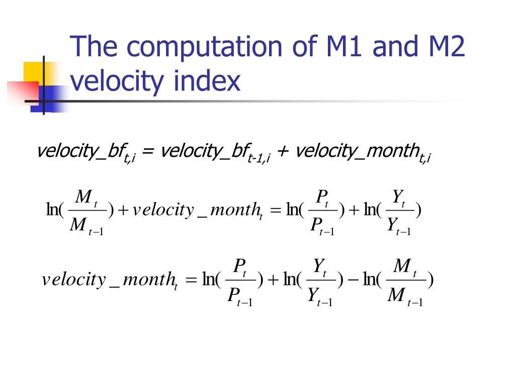 The computation of M1 and M2 velocity index