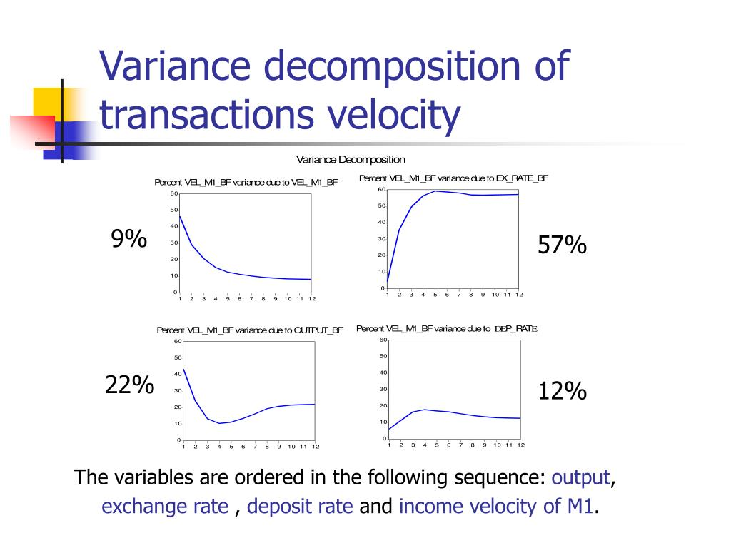 Variance decomposition of transactions velocity