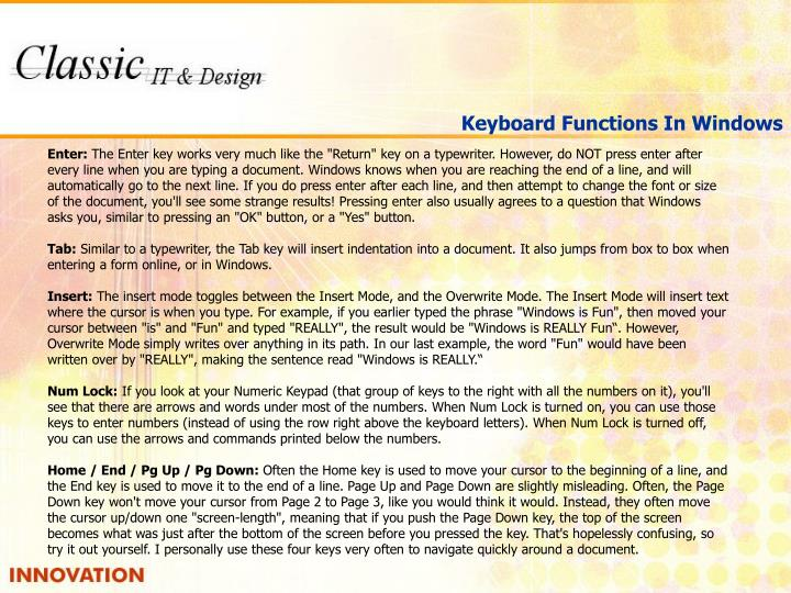 Keyboard Functions In Windows