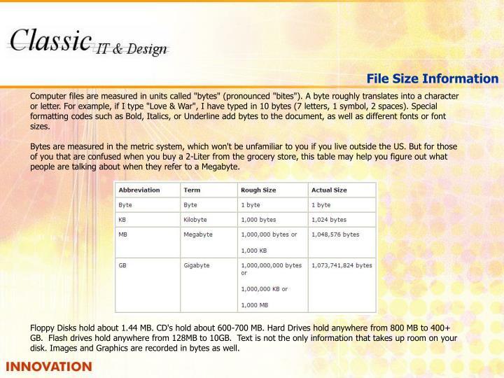 File Size Information