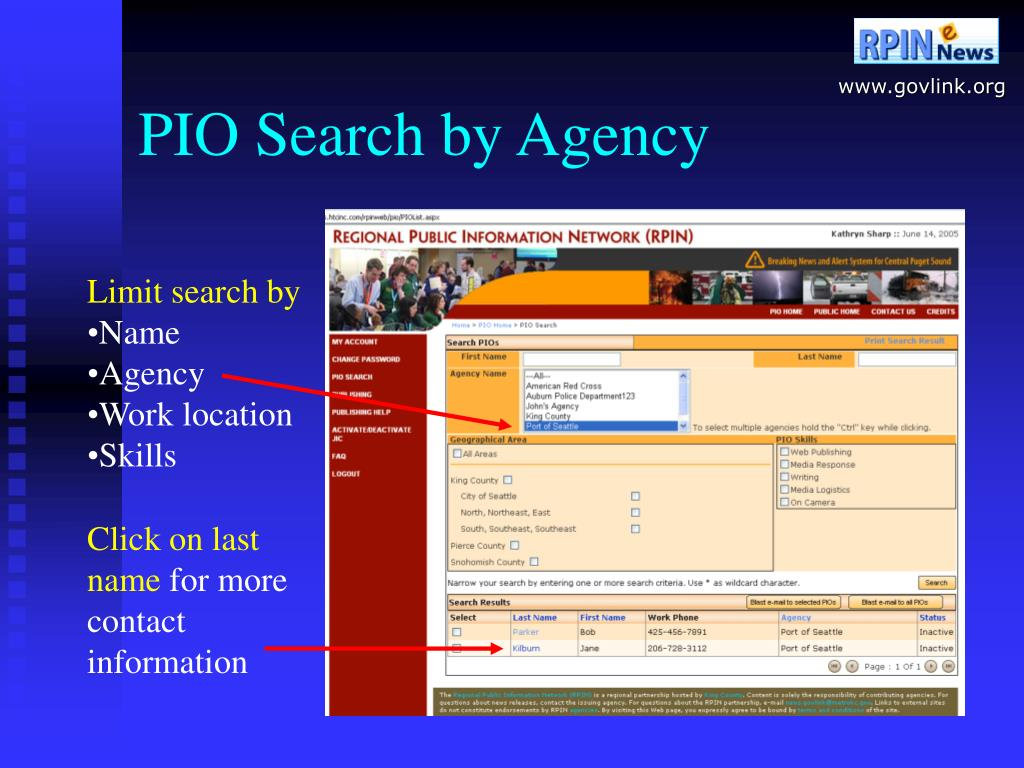 PIO Search by Agency