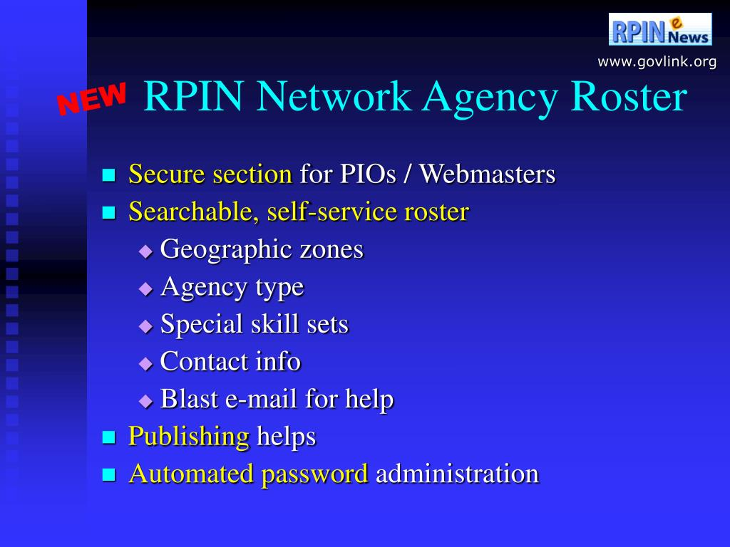 RPIN Network Agency Roster