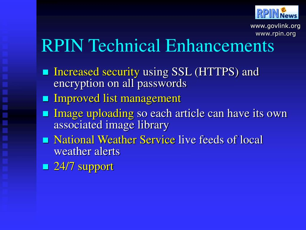 RPIN Technical Enhancements