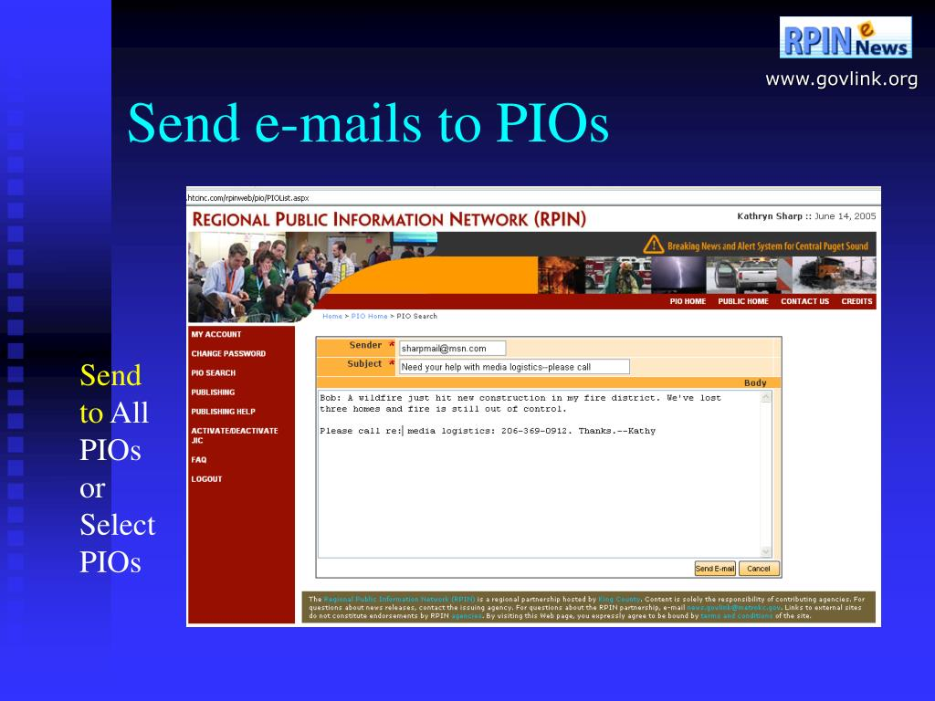 Send e-mails to PIOs