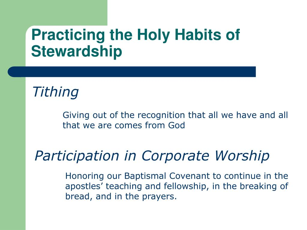 Practicing the Holy Habits of Stewardship