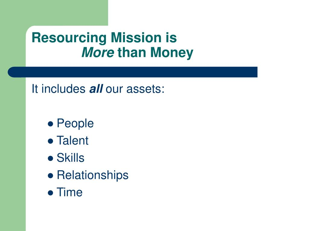 Resourcing Mission is