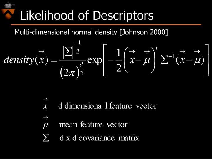 Likelihood of Descriptors