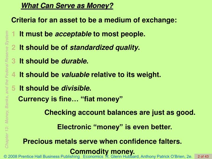 What Can Serve as Money?