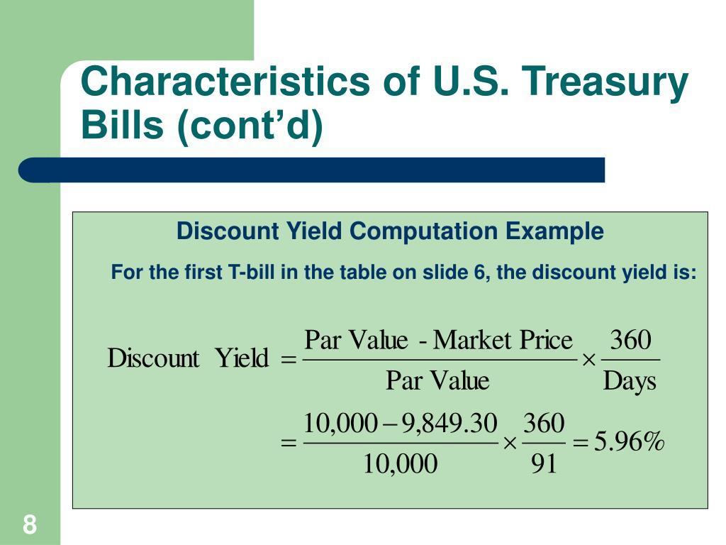 Characteristics of U.S. Treasury Bills (cont'd)