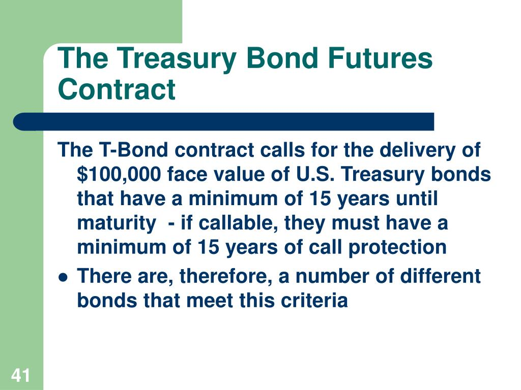 The Treasury Bond Futures Contract