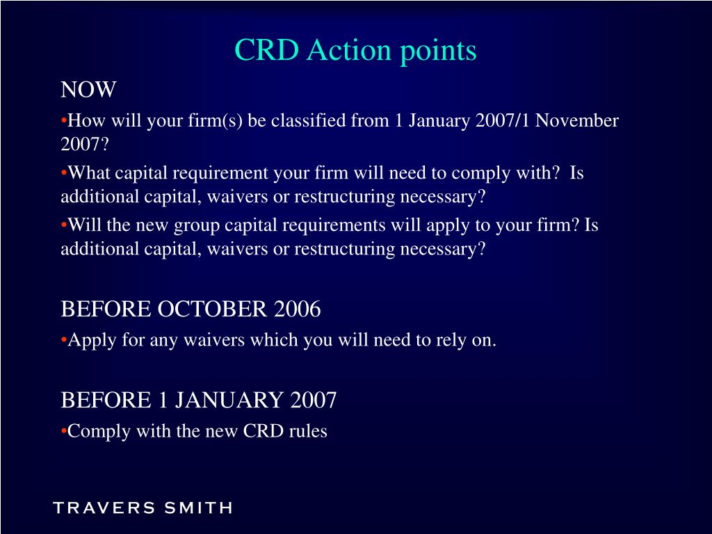 CRD Action points