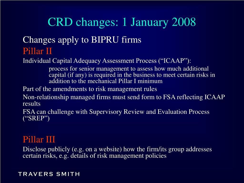 CRD changes: 1 January 2008