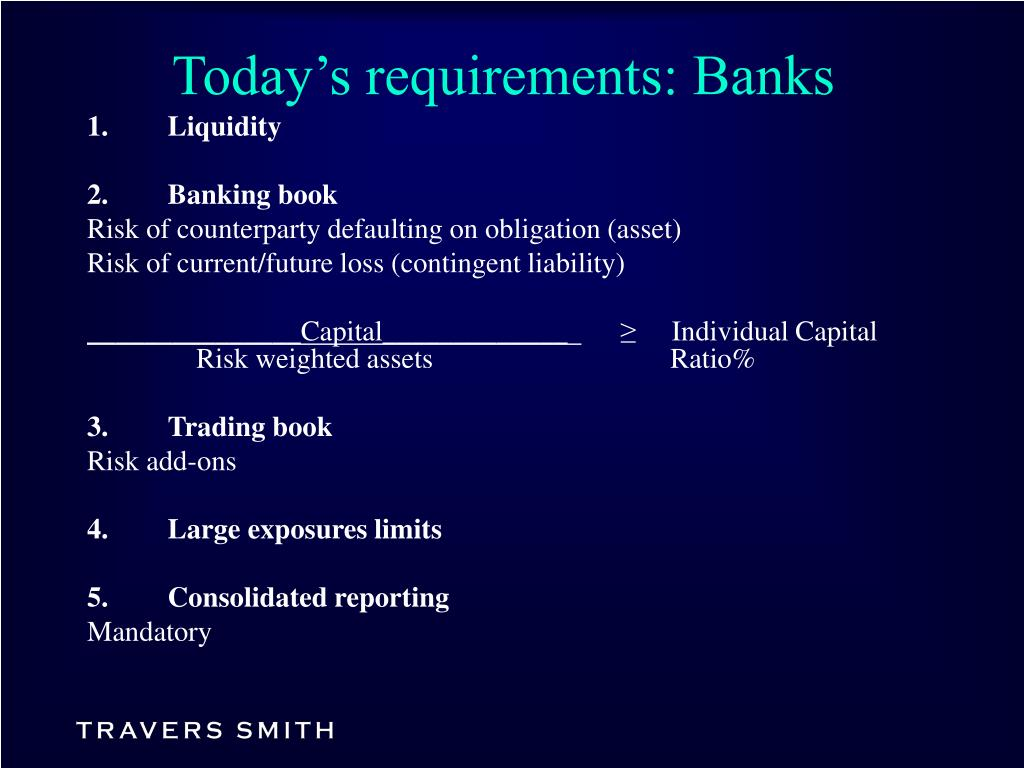 Today's requirements: Banks