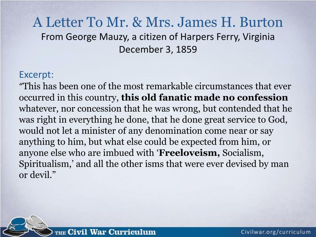 A Letter To Mr. & Mrs. James H. Burton