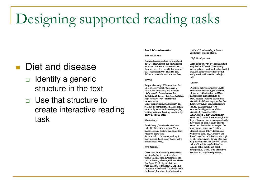 Designing supported reading tasks