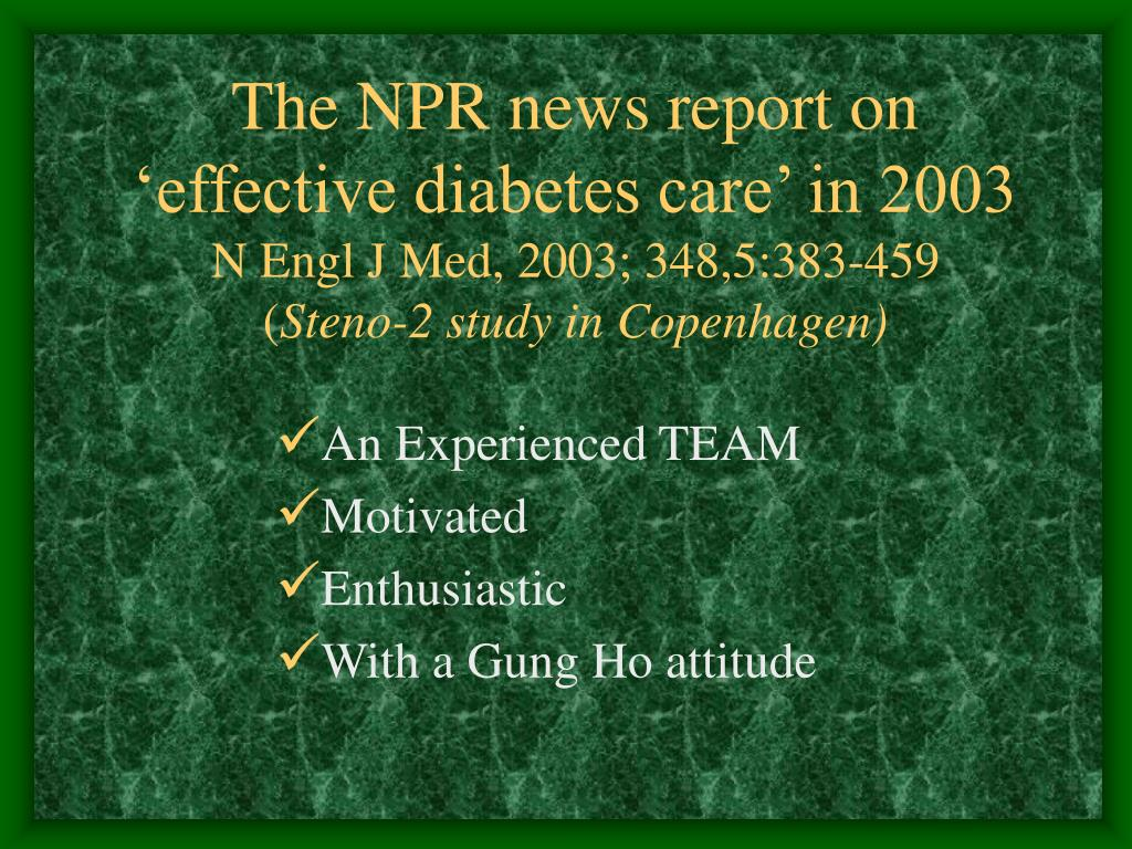 The NPR news report on 'effective diabetes care' in 2003