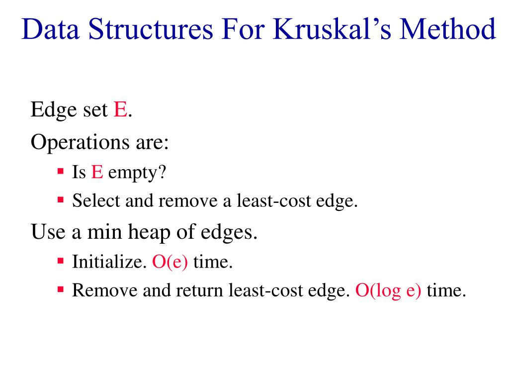 Data Structures For Kruskal's Method