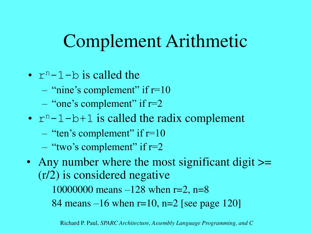 Complement Arithmetic