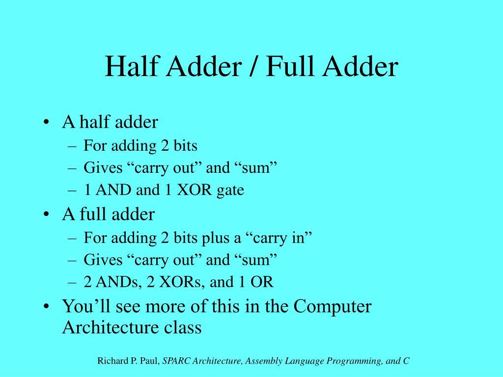 Half Adder / Full Adder