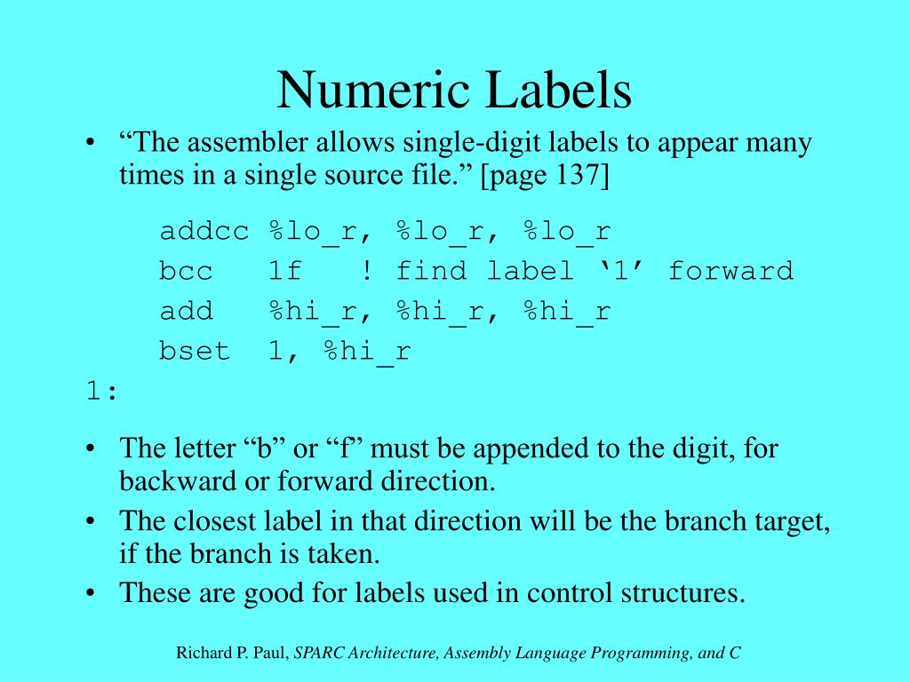 Numeric Labels