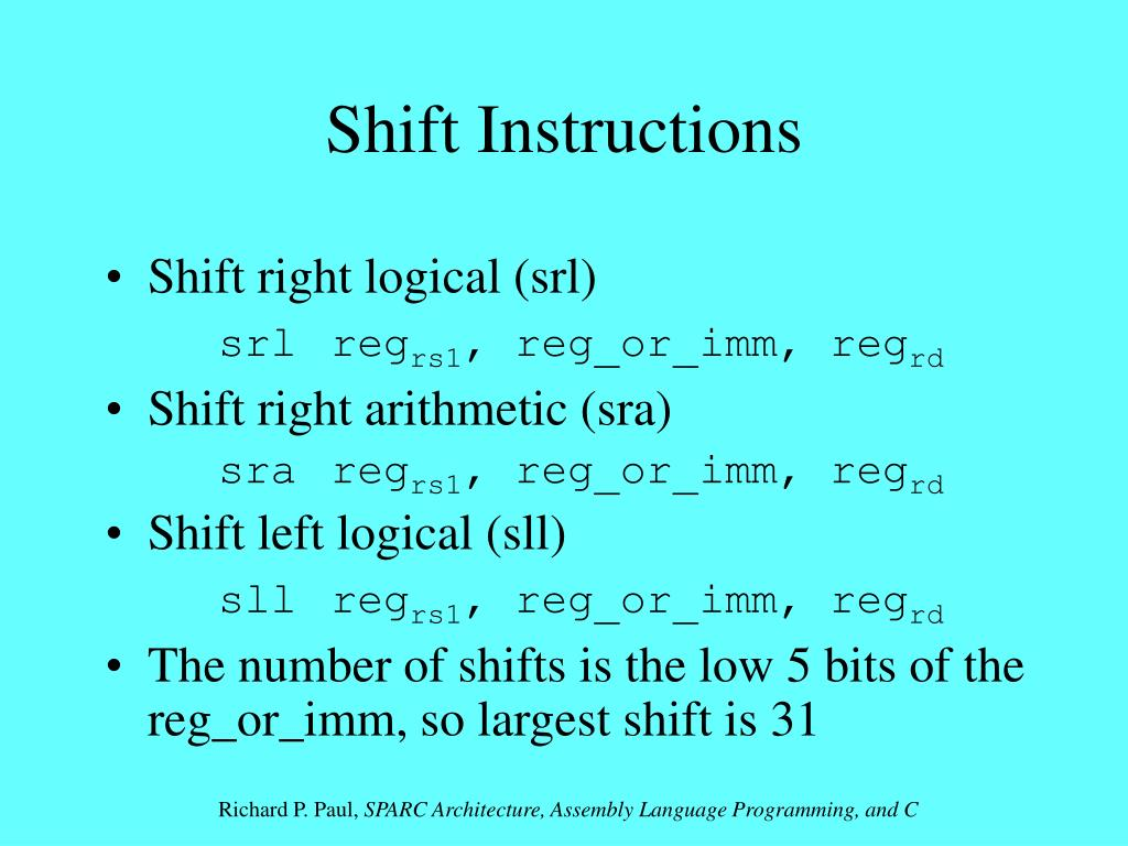 Shift Instructions