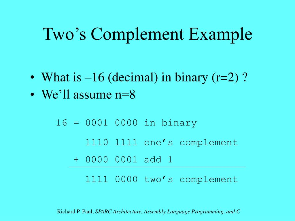 Two's Complement Example