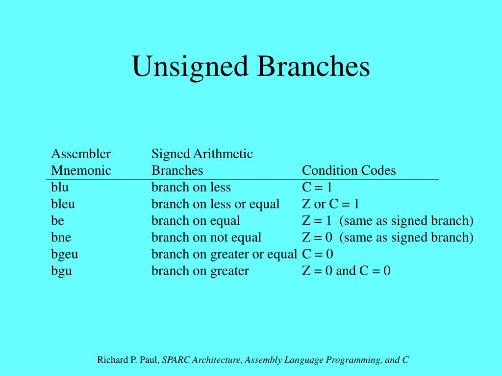 Unsigned Branches