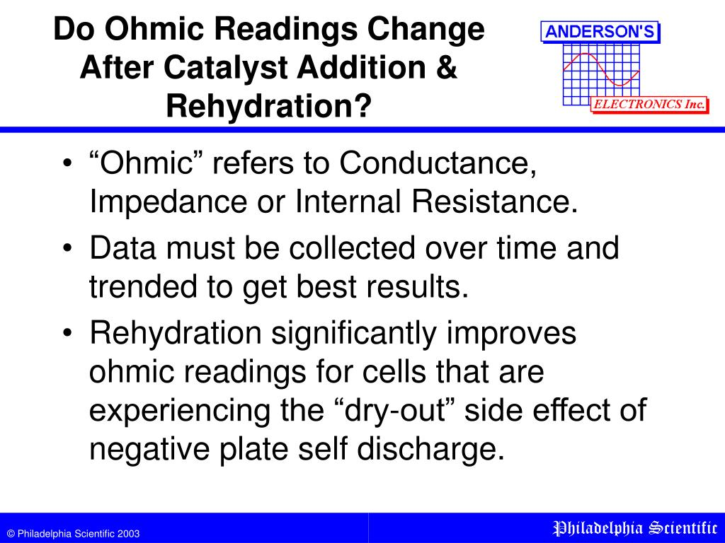 Do Ohmic Readings Change After Catalyst Addition & Rehydration?