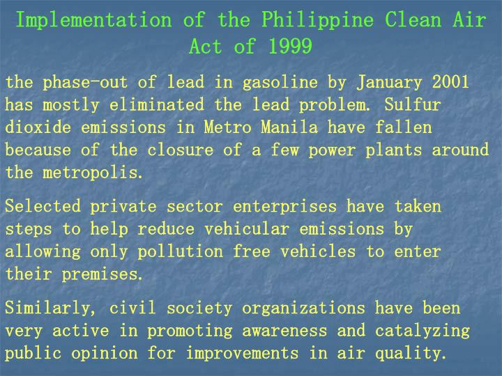Implementation of the Philippine Clean Air Act of 1999