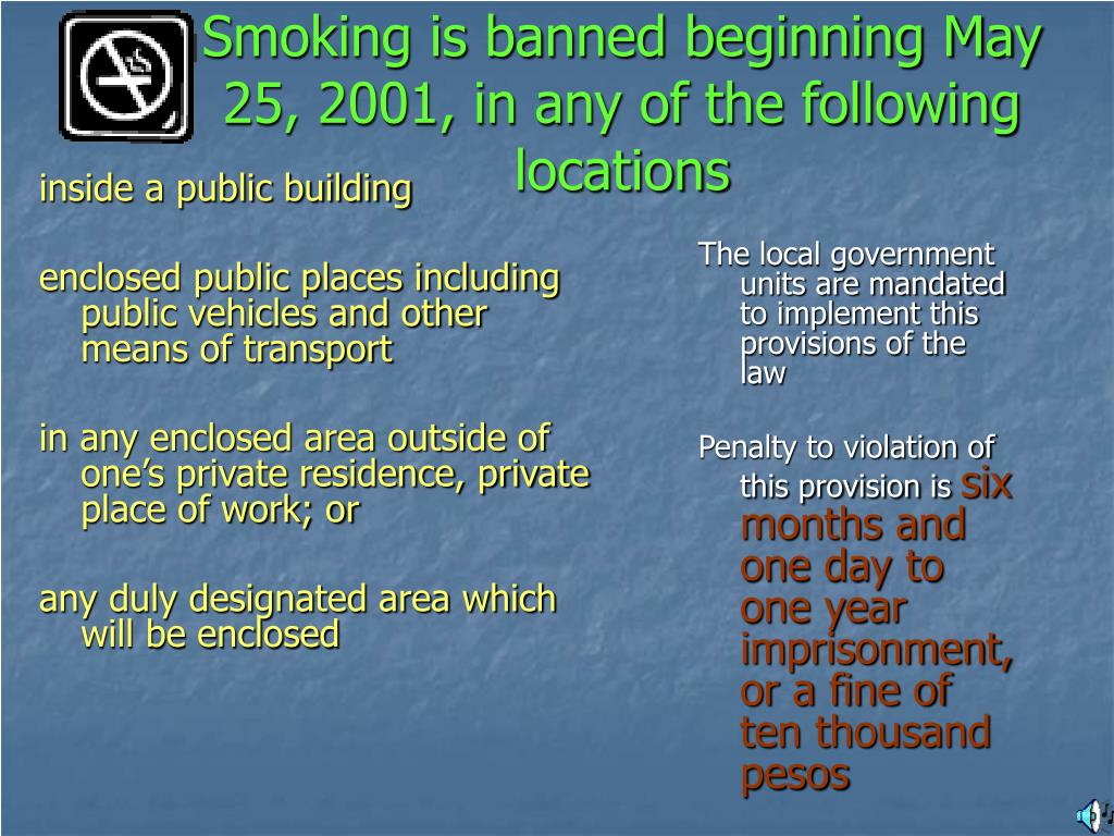 Smoking is banned beginning May 25, 2001, in any of the following locations