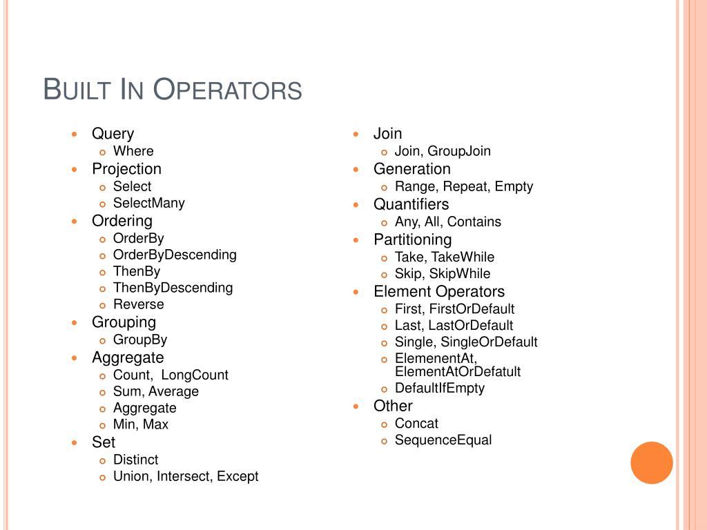 Built In Operators